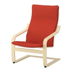 POÄNG - Kursi berlengan, veneer kayu birch/Knisa merah/oranye