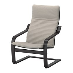 POÄNG - POÄNG, armchair, black-brown/Knisa light beige