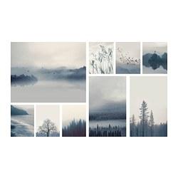GRÖNBY - GRÖNBY, gambar, set isi 9, lanskap biru, 179x112 cm