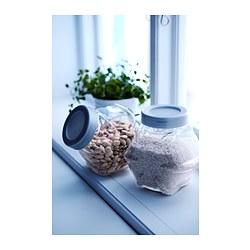 FÖRVAR - Jar with lid, glass/aluminium-colour