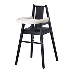 BLÅMES - Highchair with tray, black