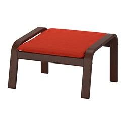POÄNG - Bangku kaki, cokelat/Knisa merah/oranye