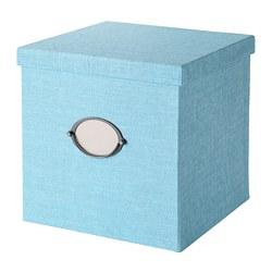KVARNVIK - Kotak penyimpanan dengan penutup, biru