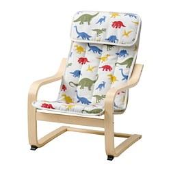 POÄNG - Kursi berlengan anak, veneer kayu birch/Medskog motif dinosaurus