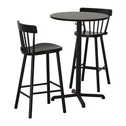 STENSELE/NORRARYD - Meja bar dan 2 bangku bar, antrasit/hitam