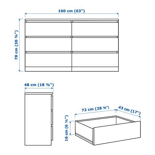 MALM - lemari 6 laci, putih, 160x78 cm | IKEA Indonesia - PE755890_S4