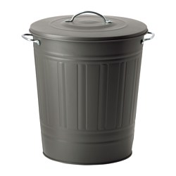 KNODD - Bin with lid, grey