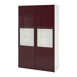 BESTÅ - Kombinasi penyimpanan dg pintu kaca, putih Selsviken/cokelat kemerahan tua kaca bening