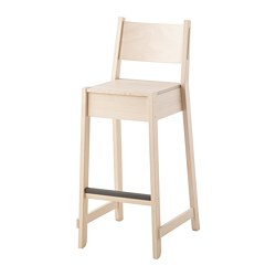NORRÅKER - Bar stool with backrest, birch
