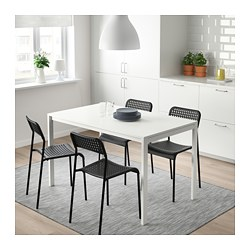 MELLTORP/ADDE - Table and 4 chairs, white/black