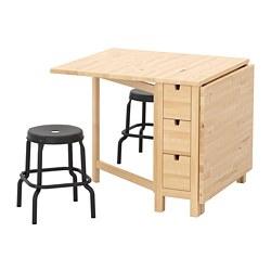 NORDEN/RÅSKOG - Meja dan 2 bangku, kayu birch/hitam