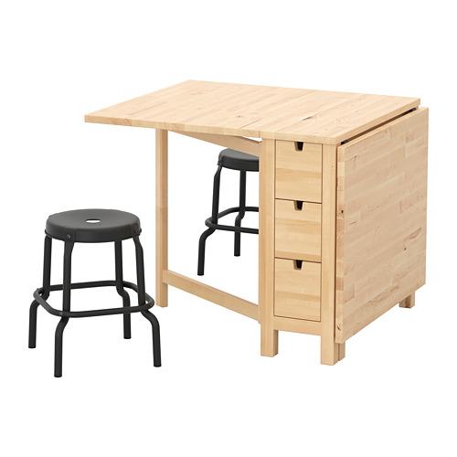 NORDEN/RÅSKOG meja dan 2 bangku