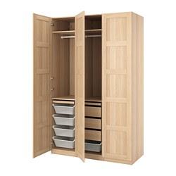 PAX/BERGSBO - Kombinasi lemari pakaian, efek kayu oak diwarnai putih
