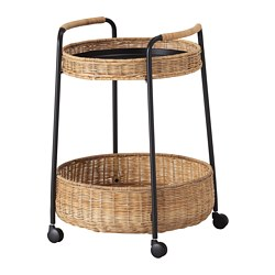 LUBBAN - Trolley table with storage, rattan/anthracite