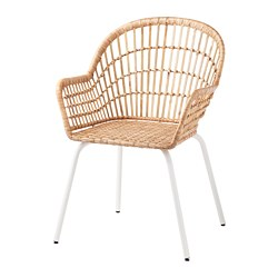 NILSOVE - Chair with armrests, rattan/white