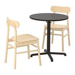 STENSELE/RÖNNINGE - Meja dan 2 kursi, antrasit/kayu birch