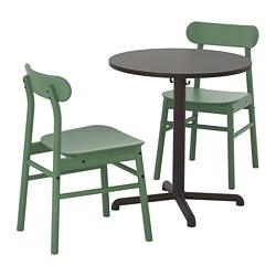 STENSELE/RÖNNINGE - Meja dan 2 kursi, antrasit/hijau