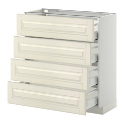 METOD - Base cab 4 frnts/4 drawers, white Maximera/Bodbyn off-white