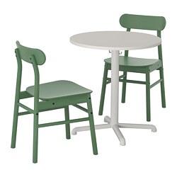 RÖNNINGE/STENSELE - Meja dan 2 kursi, abu-abu muda/hijau