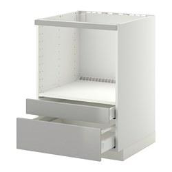 METOD/MAXIMERA - Kab dasar untuk oven/laci kombinasi, putih/Grevsta baja tahan karat
