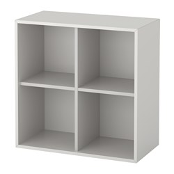 EKET - Wall-mounted shelving unit w 4 comp, light grey