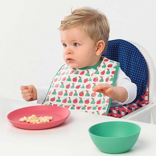 MATVRÅ - celemek bayi, pola buah-buahan/sayuran/hijau kuning | IKEA Indonesia - PE726500_S4