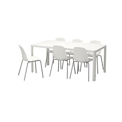 LEIFARNE/TINGBY - Meja dan 6 kursi, putih/putih