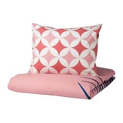 GRACIÖS - Sarung quilt dan sarung bantal, pola ubin/merah muda