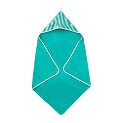 RÖRANDE - Handuk dengan penutup kepala, garis-garis/hijau