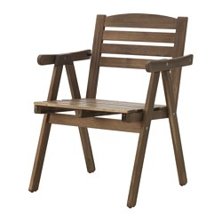 FALHOLMEN - Chair with armrests, outdoor, light brown stained