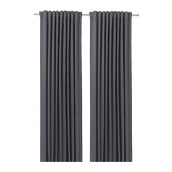 BLÅHUVA - Block-out curtains, 1 pair, blue-grey