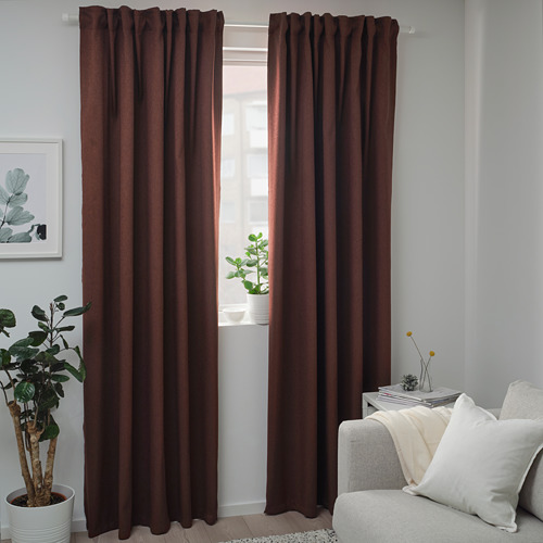 BLÅHUVA - block-out curtains, 1 pair, brown-red, 145x250 cm   IKEA Indonesia - PE756682_S4