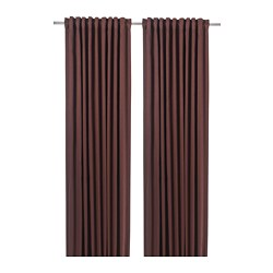 BLÅHUVA - Block-out curtains, 1 pair, brown-red