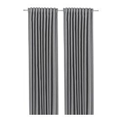 BLÅHUVA - Room darkening curtains, 1 pair, light grey