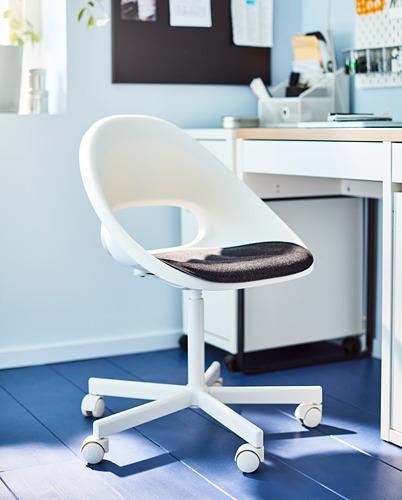 BLYSKÄR/LOBERGET - kursi putar dengan alas , putih/abu-abu tua | IKEA Indonesia - PH172753_S4
