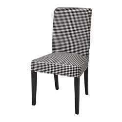 HENRIKSDAL - Chair, dark brown/Vibberbo black/beige