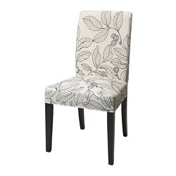 HENRIKSDAL - Chair, dark brown/Vislanda black/white