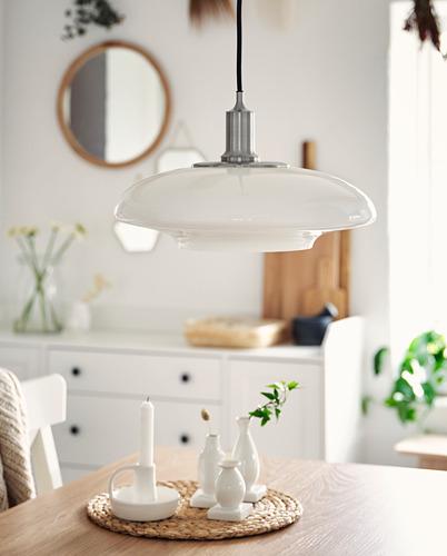 TÄLLBYN - lampu gantung, dilapisi nikel/putih opal kaca, 40 cm   IKEA Indonesia - PH173265_S4