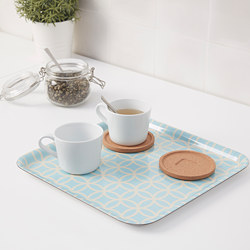 SOLGLIMTAR - Tray, turquoise/patterned