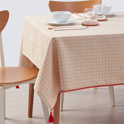 SOLGLIMTAR - Tablecloth, brown/white