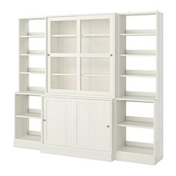 HAVSTA - Storage comb w sliding glass doors, white