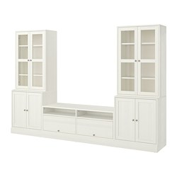 HAVSTA - TV storage combination/glass doors, white
