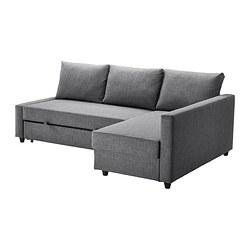 FRIHETEN - Sofa tempat tidur sudut dgn pnympn, Skiftebo abu-abu tua
