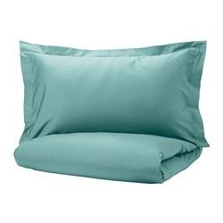 LUKTJASMIN - Sarung duvet dan sarung bantal, abu-abu toska, 150x200/50x80 cm