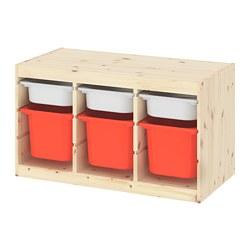 TROFAST - Kombinasi penyimpanan dgn kotak, pinus diwarnai putih muda putih/oranye