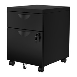 ERIK - Drawer unit w 2 drawers on castors, black