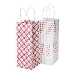 VINTER 2019 - Tas kado untuk botol, putih/merah berpola