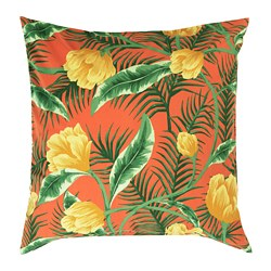 SOLBLEKT - Cushion cover, in/outdoor/floral pattern orange