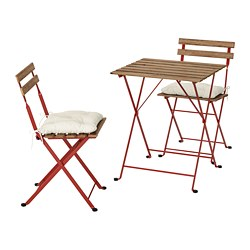 TÄRNÖ - Table+2 chairs, outdoor, red/light brown stained/Kuddarna beige