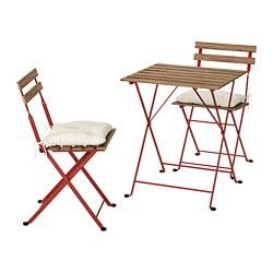 TÄRNÖ - Meja+2 kursi, luar ruang, diwarnai merah/cokelat terang/Kuddarna krem